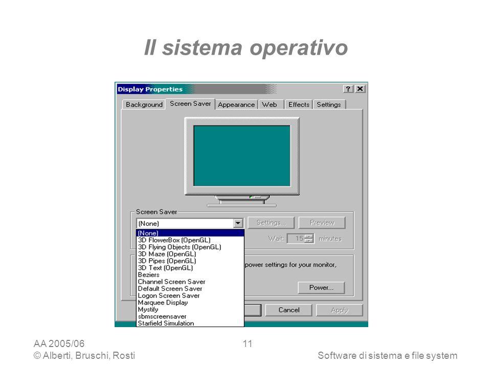 AA 2005/06 © Alberti, Bruschi, RostiSoftware di sistema e file system 11 Il sistema operativo
