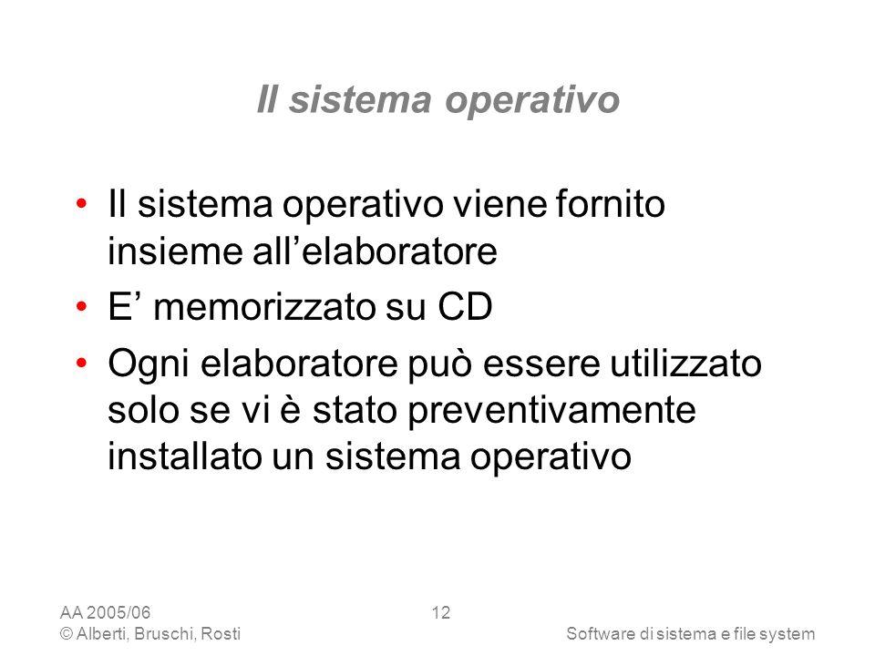 AA 2005/06 © Alberti, Bruschi, RostiSoftware di sistema e file system 12 Il sistema operativo Il sistema operativo viene fornito insieme allelaborator