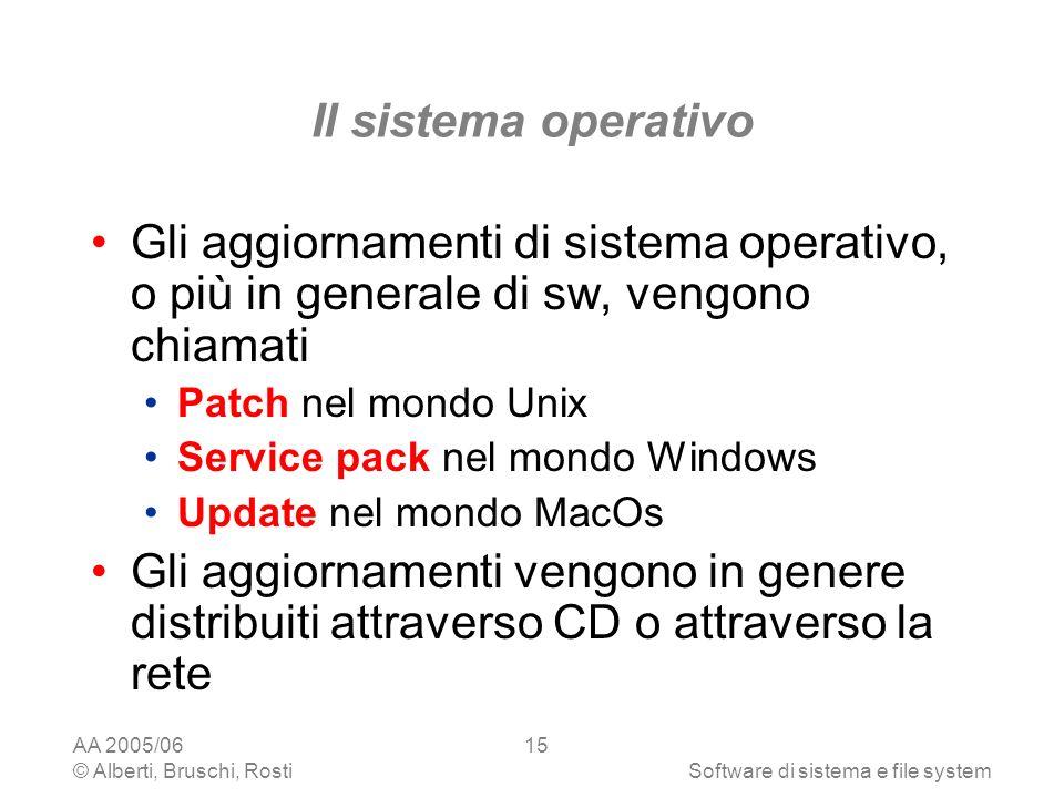 AA 2005/06 © Alberti, Bruschi, RostiSoftware di sistema e file system 15 Il sistema operativo Gli aggiornamenti di sistema operativo, o più in general