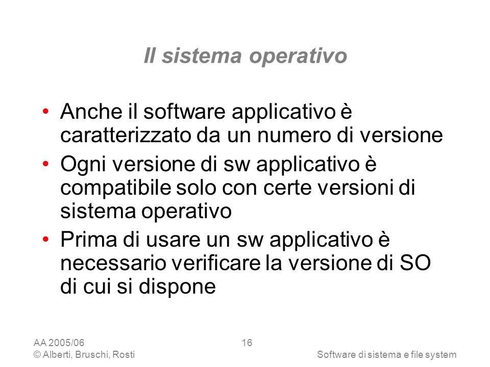 AA 2005/06 © Alberti, Bruschi, RostiSoftware di sistema e file system 16 Il sistema operativo Anche il software applicativo è caratterizzato da un num