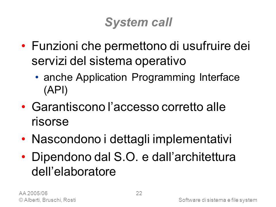AA 2005/06 © Alberti, Bruschi, RostiSoftware di sistema e file system 22 System call Funzioni che permettono di usufruire dei servizi del sistema oper