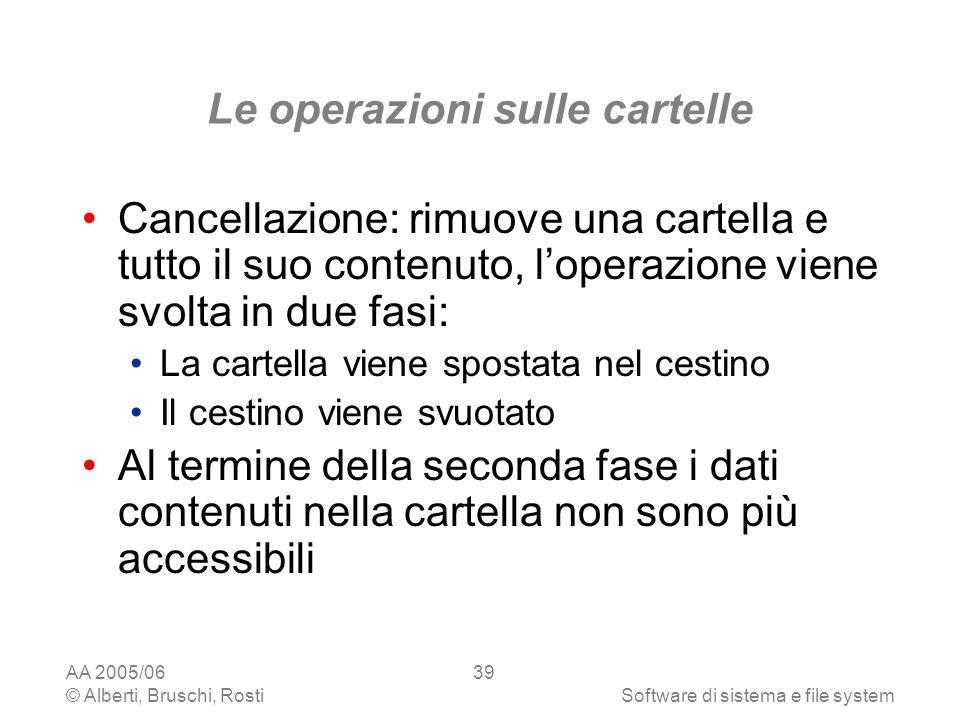 AA 2005/06 © Alberti, Bruschi, RostiSoftware di sistema e file system 39 Le operazioni sulle cartelle Cancellazione: rimuove una cartella e tutto il s