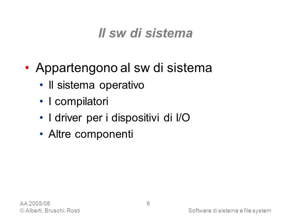 AA 2005/06 © Alberti, Bruschi, RostiSoftware di sistema e file system 6 Il sw di sistema Appartengono al sw di sistema Il sistema operativo I compilat