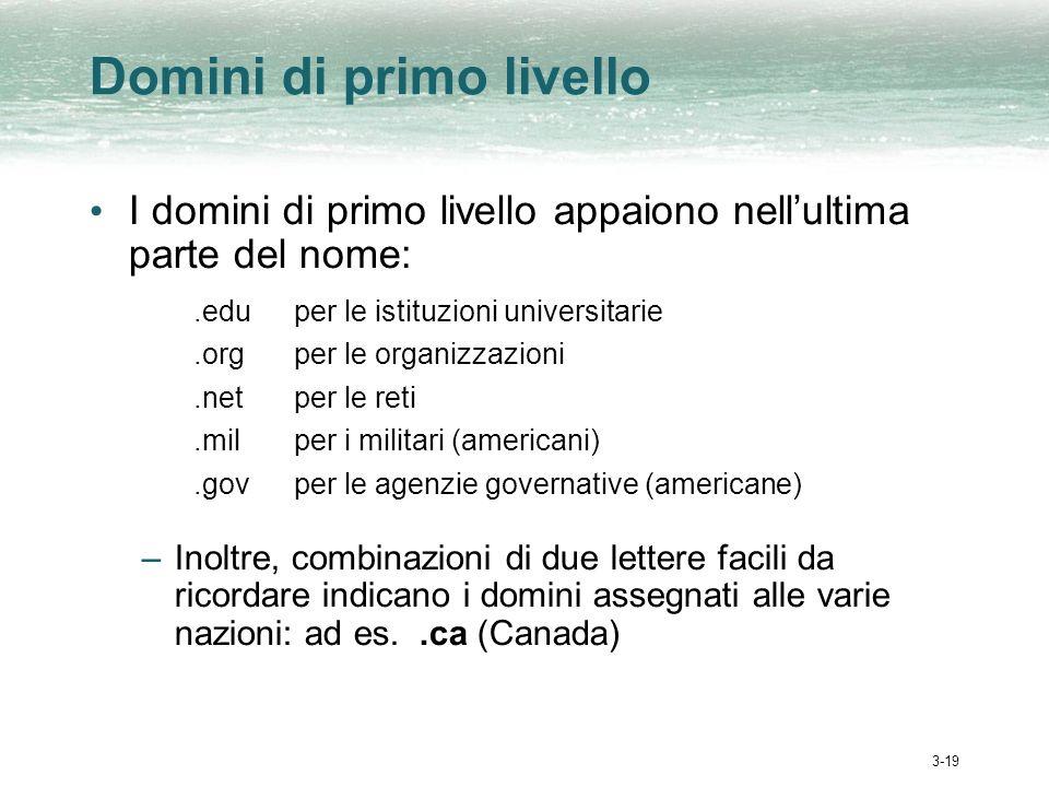 3-19 Domini di primo livello I domini di primo livello appaiono nellultima parte del nome:.eduper le istituzioni universitarie.orgper le organizzazion