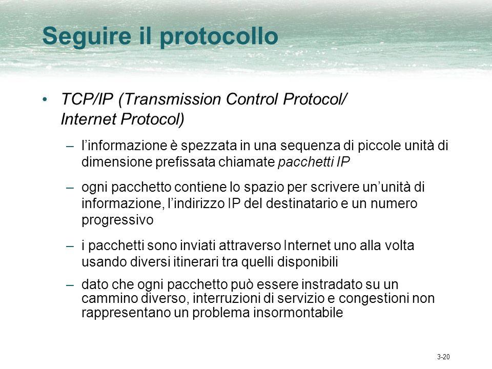 3-20 Seguire il protocollo TCP/IP (Transmission Control Protocol/ Internet Protocol) –linformazione è spezzata in una sequenza di piccole unità di dimensione prefissata chiamate pacchetti IP –ogni pacchetto contiene lo spazio per scrivere ununità di informazione, lindirizzo IP del destinatario e un numero progressivo –i pacchetti sono inviati attraverso Internet uno alla volta usando diversi itinerari tra quelli disponibili –dato che ogni pacchetto può essere instradato su un cammino diverso, interruzioni di servizio e congestioni non rappresentano un problema insormontabile