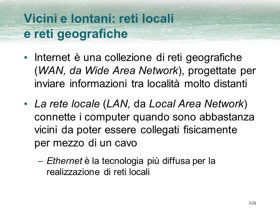 3-24 Vicini e lontani: reti locali e reti geografiche Internet è una collezione di reti geografiche (WAN, da Wide Area Network), progettate per inviare informazioni tra località molto distanti La rete locale (LAN, da Local Area Network) connette i computer quando sono abbastanza vicini da poter essere collegati fisicamente per mezzo di un cavo –Ethernet è la tecnologia più diffusa per la realizzazione di reti locali