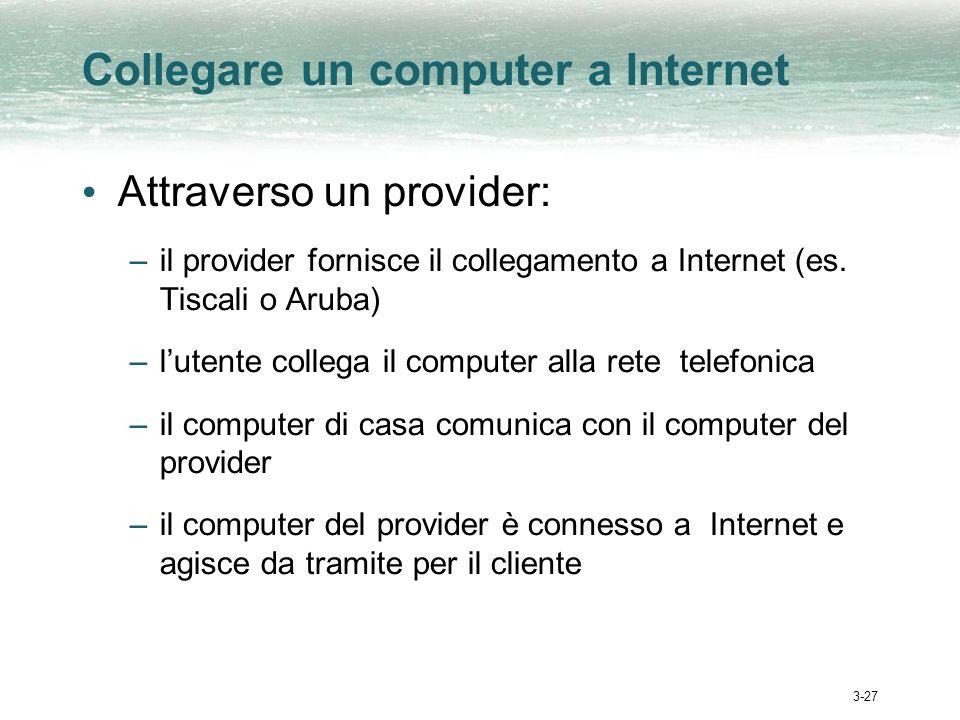 3-27 Collegare un computer a Internet Attraverso un provider: –il provider fornisce il collegamento a Internet (es. Tiscali o Aruba) –lutente collega