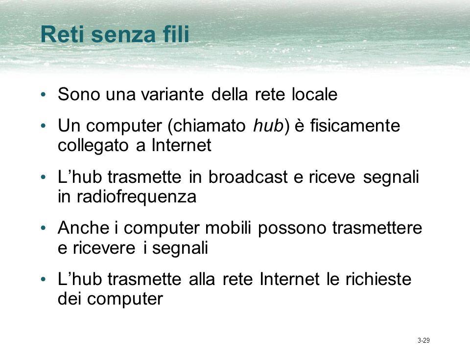 3-29 Reti senza fili Sono una variante della rete locale Un computer (chiamato hub) è fisicamente collegato a Internet Lhub trasmette in broadcast e r