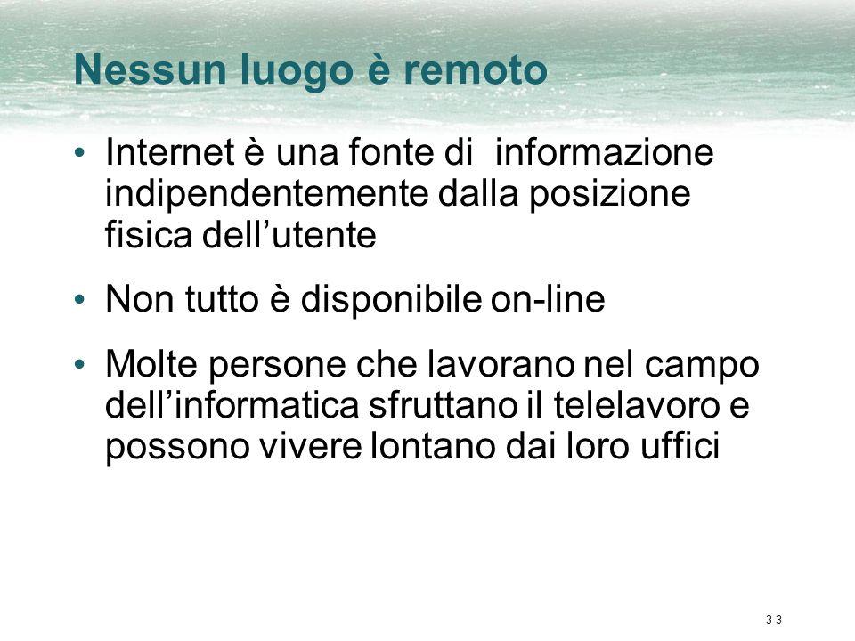 3-3 Nessun luogo è remoto Internet è una fonte di informazione indipendentemente dalla posizione fisica dellutente Non tutto è disponibile on-line Molte persone che lavorano nel campo dellinformatica sfruttano il telelavoro e possono vivere lontano dai loro uffici