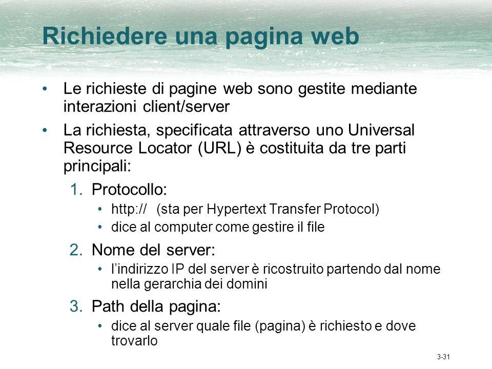 3-31 Richiedere una pagina web Le richieste di pagine web sono gestite mediante interazioni client/server La richiesta, specificata attraverso uno Uni