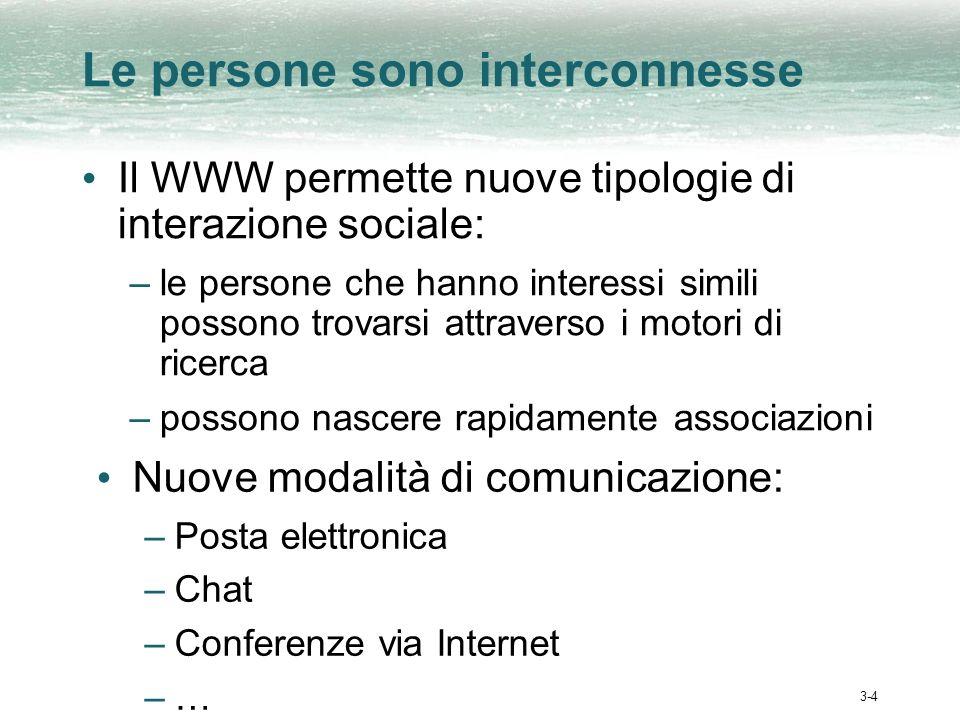 3-4 Le persone sono interconnesse Il WWW permette nuove tipologie di interazione sociale: –le persone che hanno interessi simili possono trovarsi attr