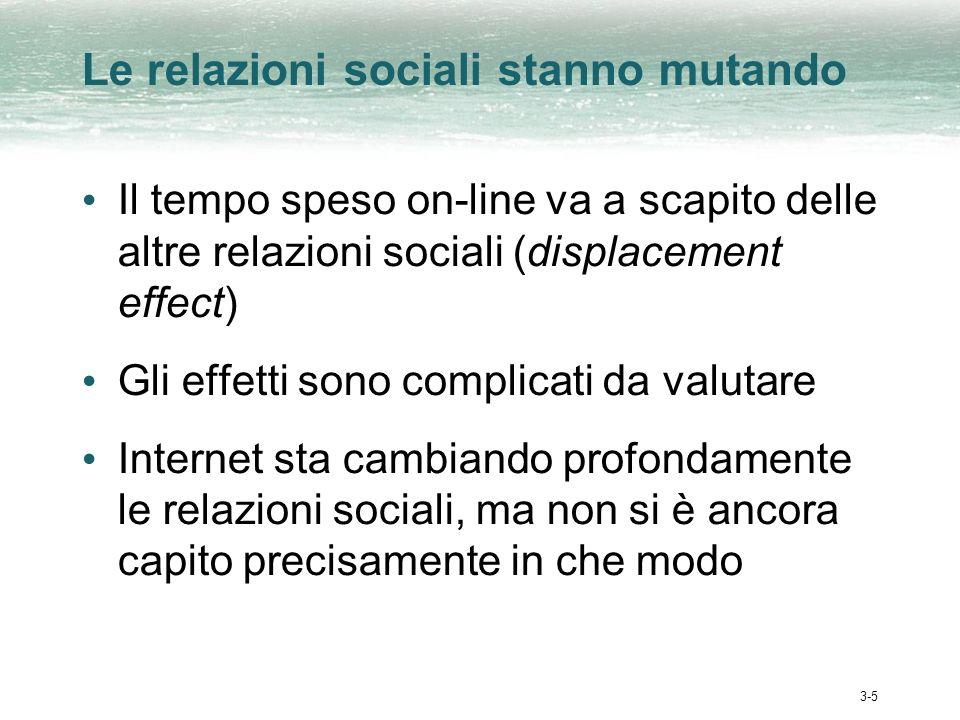 3-5 Le relazioni sociali stanno mutando Il tempo speso on-line va a scapito delle altre relazioni sociali (displacement effect) Gli effetti sono complicati da valutare Internet sta cambiando profondamente le relazioni sociali, ma non si è ancora capito precisamente in che modo