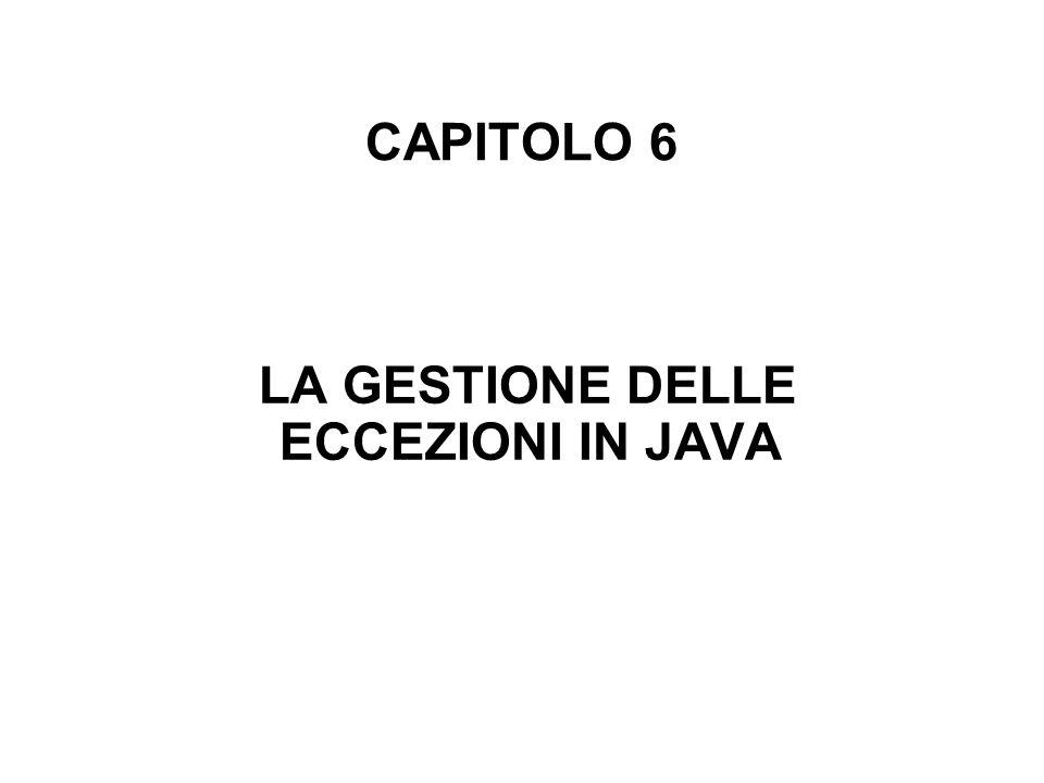 CAPITOLO 6 LA GESTIONE DELLE ECCEZIONI IN JAVA