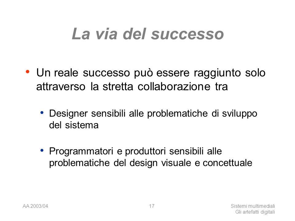AA 2003/04Sistemi multimediali Gli artefatti digitali 17 La via del successo Un reale successo può essere raggiunto solo attraverso la stretta collaborazione tra Designer sensibili alle problematiche di sviluppo del sistema Programmatori e produttori sensibili alle problematiche del design visuale e concettuale