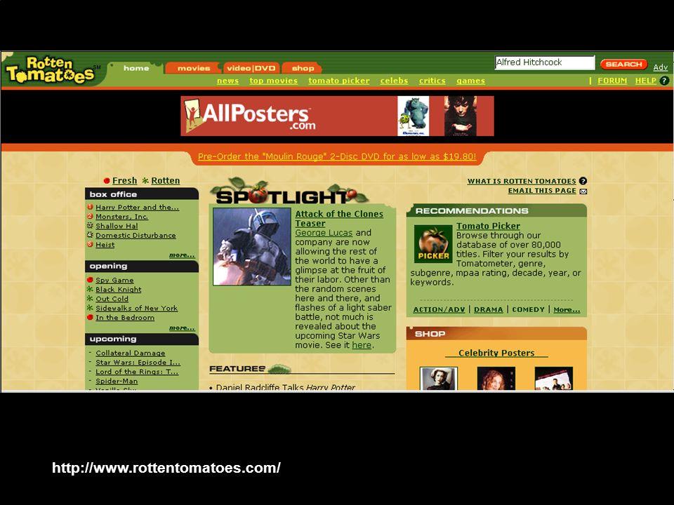 AA 2003/04Sistemi multimediali Gli artefatti digitali 19 http://www.rottentomatoes.com/