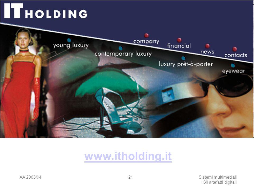 AA 2003/04Sistemi multimediali Gli artefatti digitali 21 www.itholding.it
