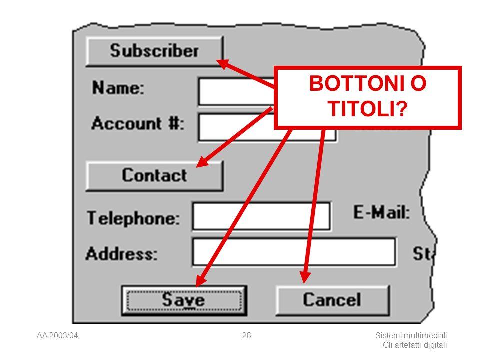 AA 2003/04Sistemi multimediali Gli artefatti digitali 28 BOTTONI O TITOLI