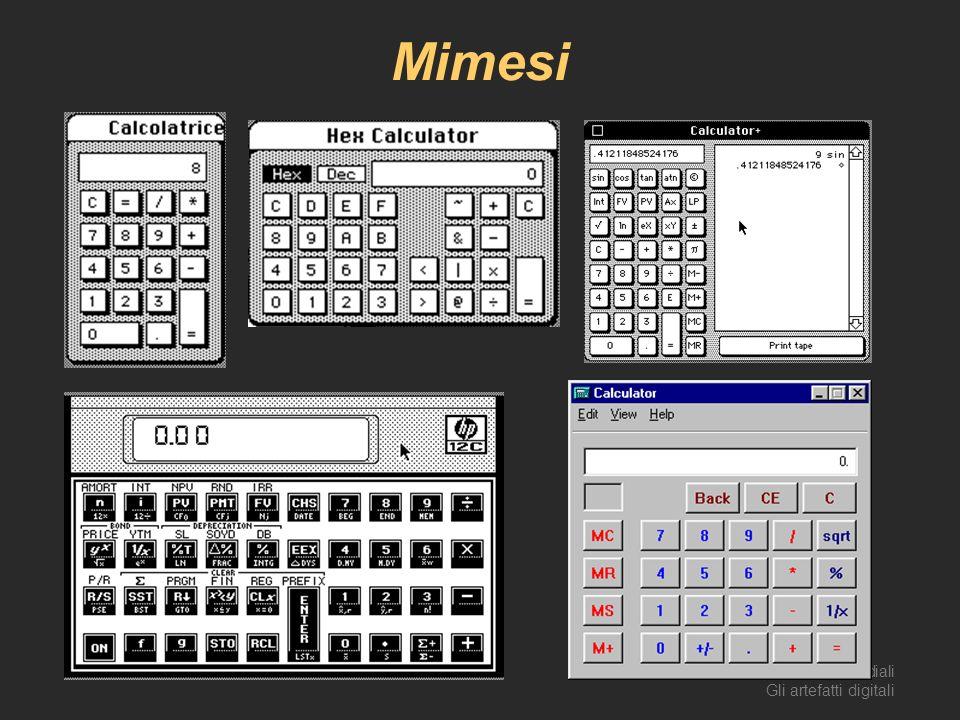 AA 2003/04Sistemi multimediali Gli artefatti digitali 49 Mimesi
