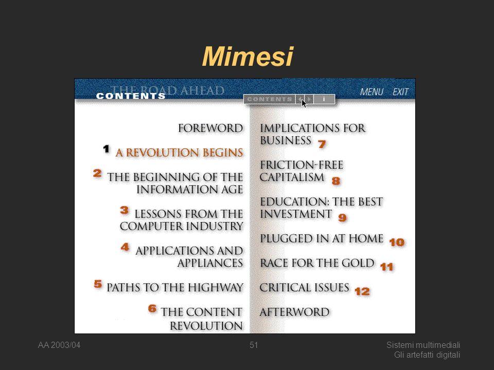 AA 2003/04Sistemi multimediali Gli artefatti digitali 51 Mimesi