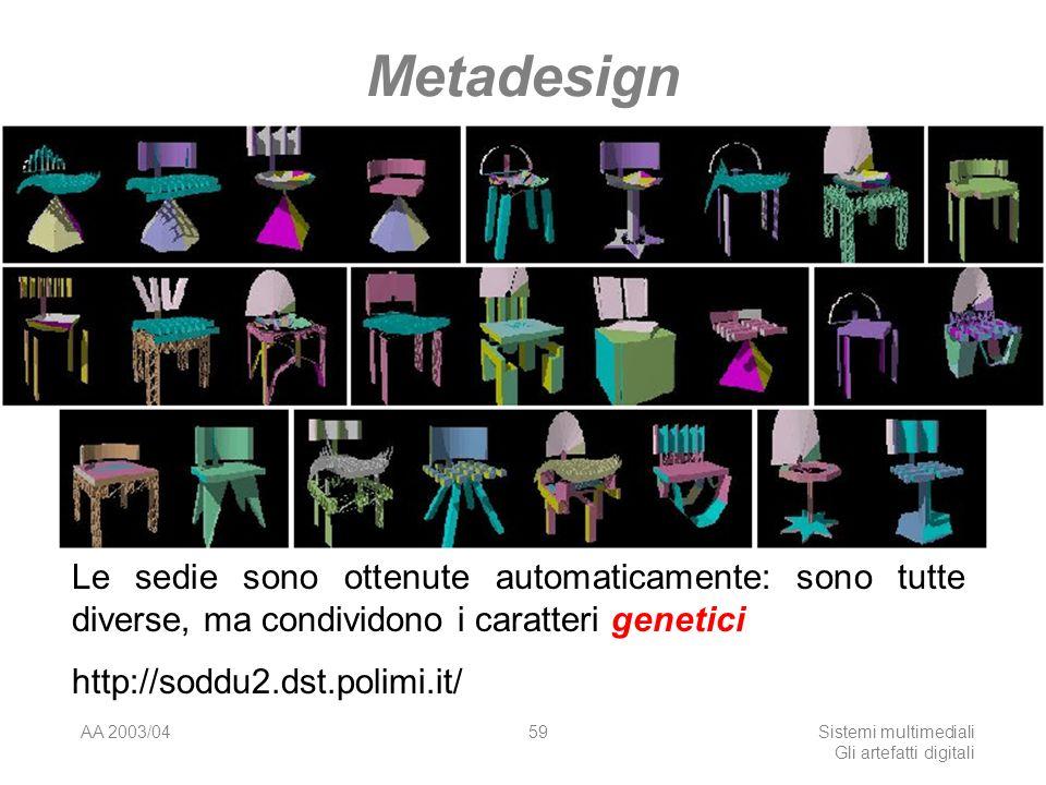 AA 2003/04Sistemi multimediali Gli artefatti digitali 59 Metadesign Le sedie sono ottenute automaticamente: sono tutte diverse, ma condividono i caratteri genetici http://soddu2.dst.polimi.it/