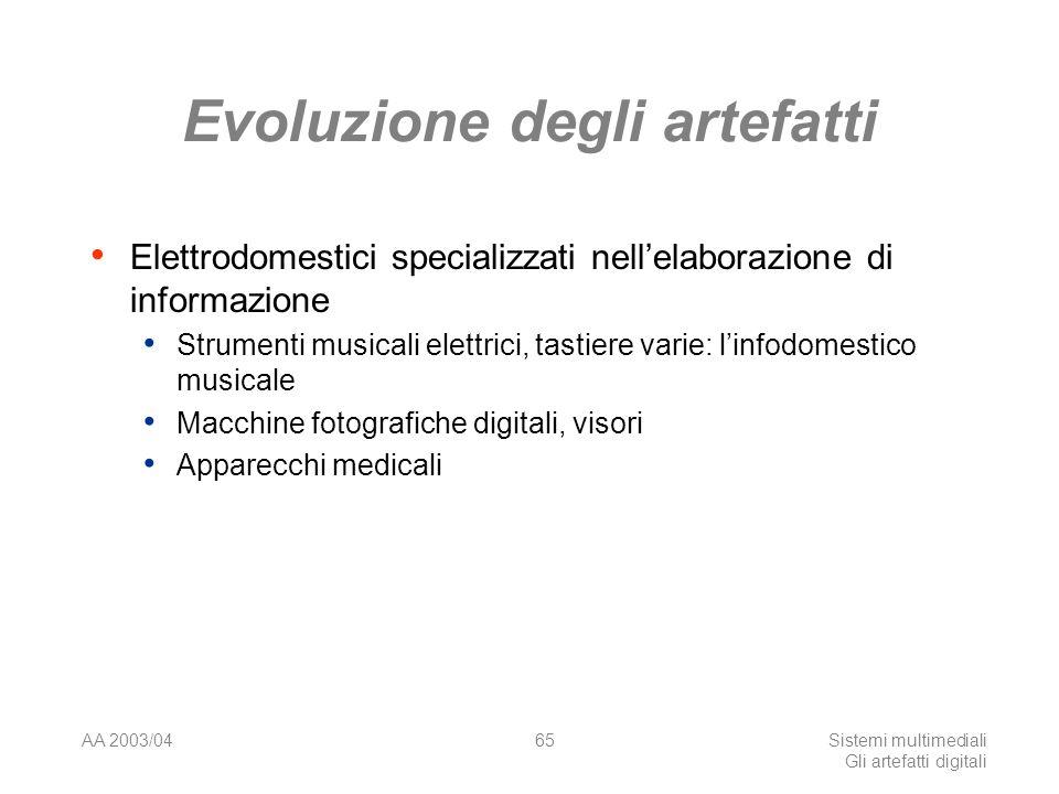 AA 2003/04Sistemi multimediali Gli artefatti digitali 65 Evoluzione degli artefatti Elettrodomestici specializzati nellelaborazione di informazione Strumenti musicali elettrici, tastiere varie: linfodomestico musicale Macchine fotografiche digitali, visori Apparecchi medicali