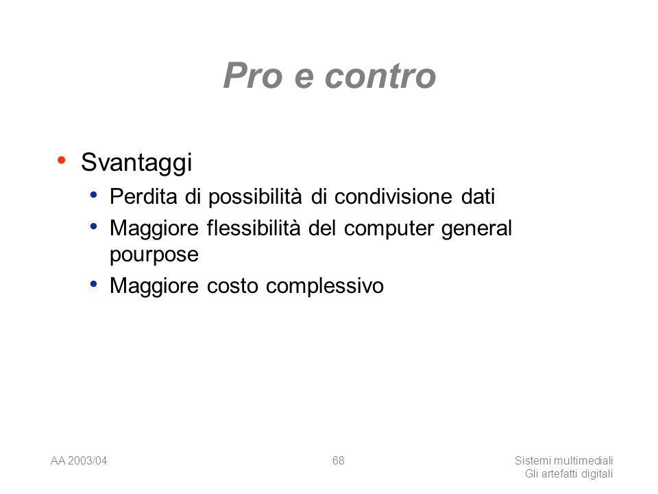 AA 2003/04Sistemi multimediali Gli artefatti digitali 68 Pro e contro Svantaggi Perdita di possibilità di condivisione dati Maggiore flessibilità del computer general pourpose Maggiore costo complessivo