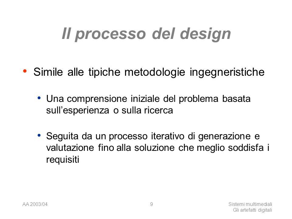 AA 2003/04Sistemi multimediali Gli artefatti digitali 9 Il processo del design Simile alle tipiche metodologie ingegneristiche Una comprensione iniziale del problema basata sullesperienza o sulla ricerca Seguita da un processo iterativo di generazione e valutazione fino alla soluzione che meglio soddisfa i requisiti
