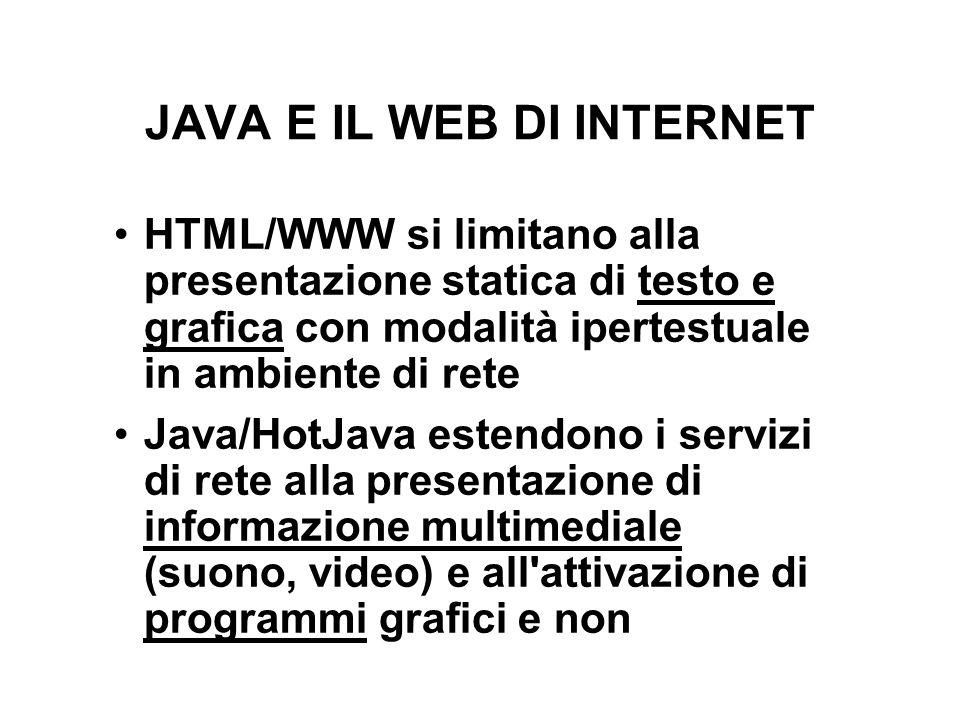 JAVA E IL WEB DI INTERNET HTML/WWW si limitano alla presentazione statica di testo e grafica con modalità ipertestuale in ambiente di rete Java/HotJava estendono i servizi di rete alla presentazione di informazione multimediale (suono, video) e all attivazione di programmi grafici e non
