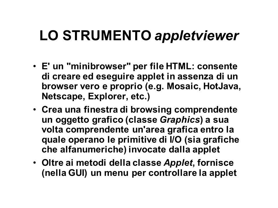 LO STRUMENTO appletviewer E un minibrowser per file HTML: consente di creare ed eseguire applet in assenza di un browser vero e proprio (e.g.