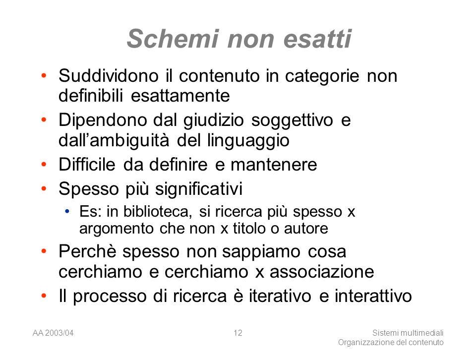 AA 2003/04Sistemi multimediali Organizzazione del contenuto 12 Schemi non esatti Suddividono il contenuto in categorie non definibili esattamente Dipe