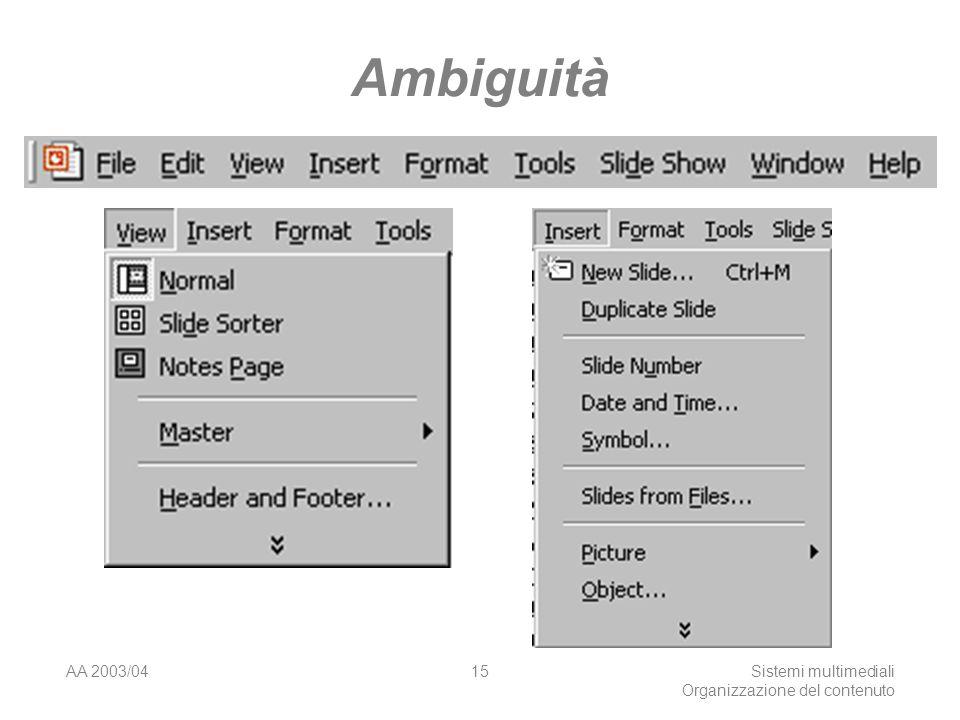 AA 2003/04Sistemi multimediali Organizzazione del contenuto 15 Ambiguità