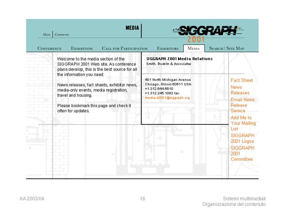 AA 2003/04Sistemi multimediali Organizzazione del contenuto 18