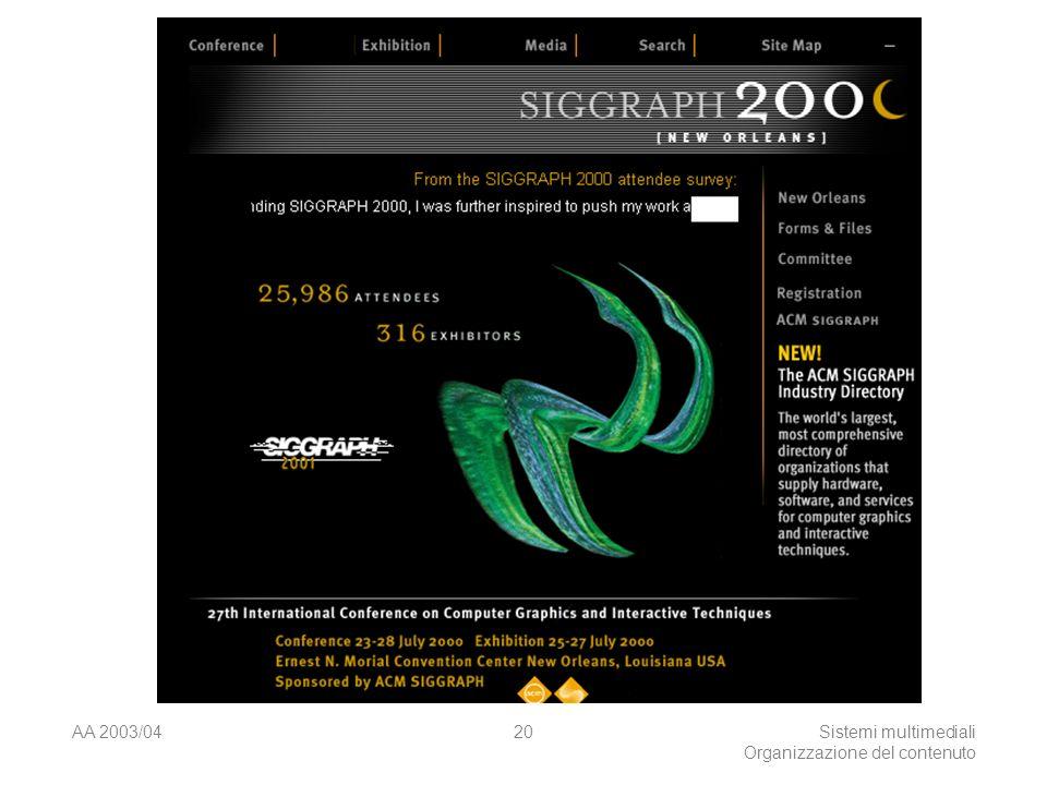 AA 2003/04Sistemi multimediali Organizzazione del contenuto 20