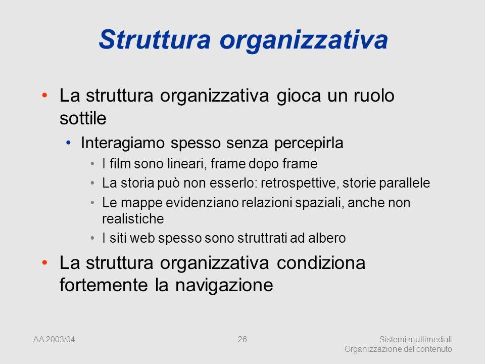 AA 2003/04Sistemi multimediali Organizzazione del contenuto 26 Struttura organizzativa La struttura organizzativa gioca un ruolo sottile Interagiamo s