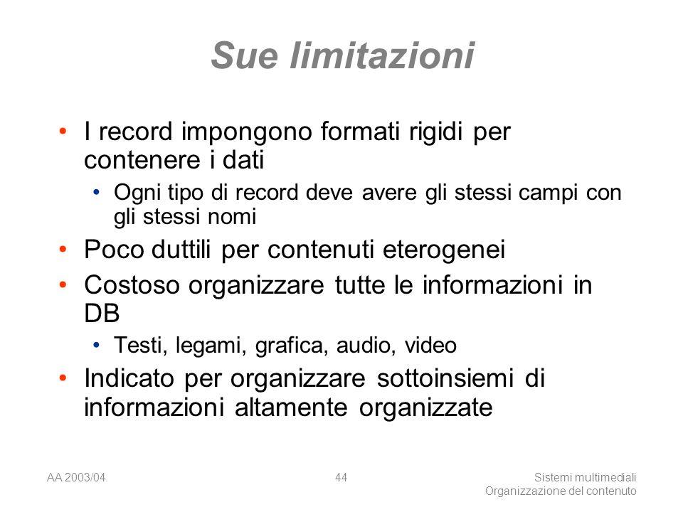 AA 2003/04Sistemi multimediali Organizzazione del contenuto 44 Sue limitazioni I record impongono formati rigidi per contenere i dati Ogni tipo di rec