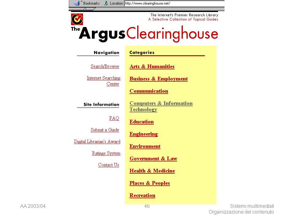 AA 2003/04Sistemi multimediali Organizzazione del contenuto 46