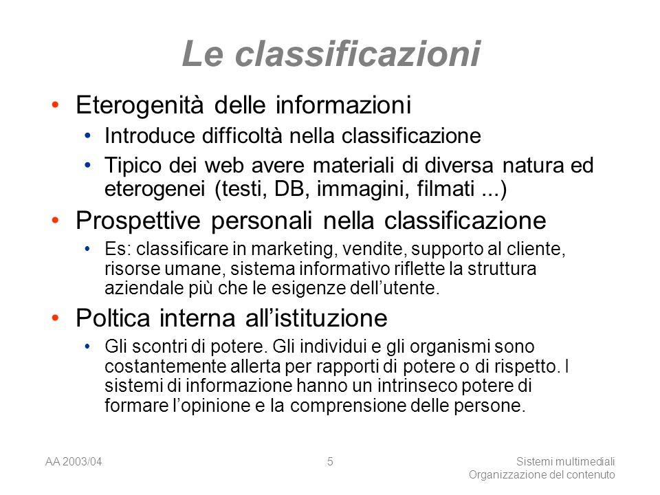 AA 2003/04Sistemi multimediali Organizzazione del contenuto 5 Le classificazioni Eterogenità delle informazioni Introduce difficoltà nella classificaz