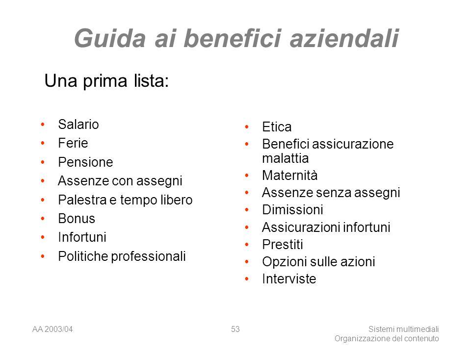 AA 2003/04Sistemi multimediali Organizzazione del contenuto 53 Guida ai benefici aziendali Salario Ferie Pensione Assenze con assegni Palestra e tempo