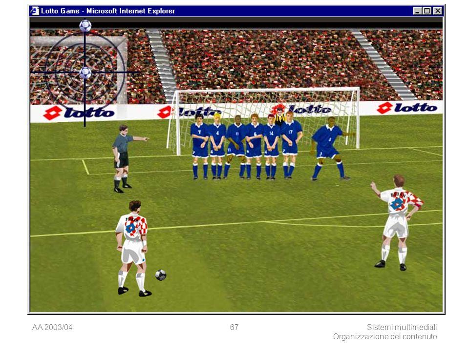 AA 2003/04Sistemi multimediali Organizzazione del contenuto 67