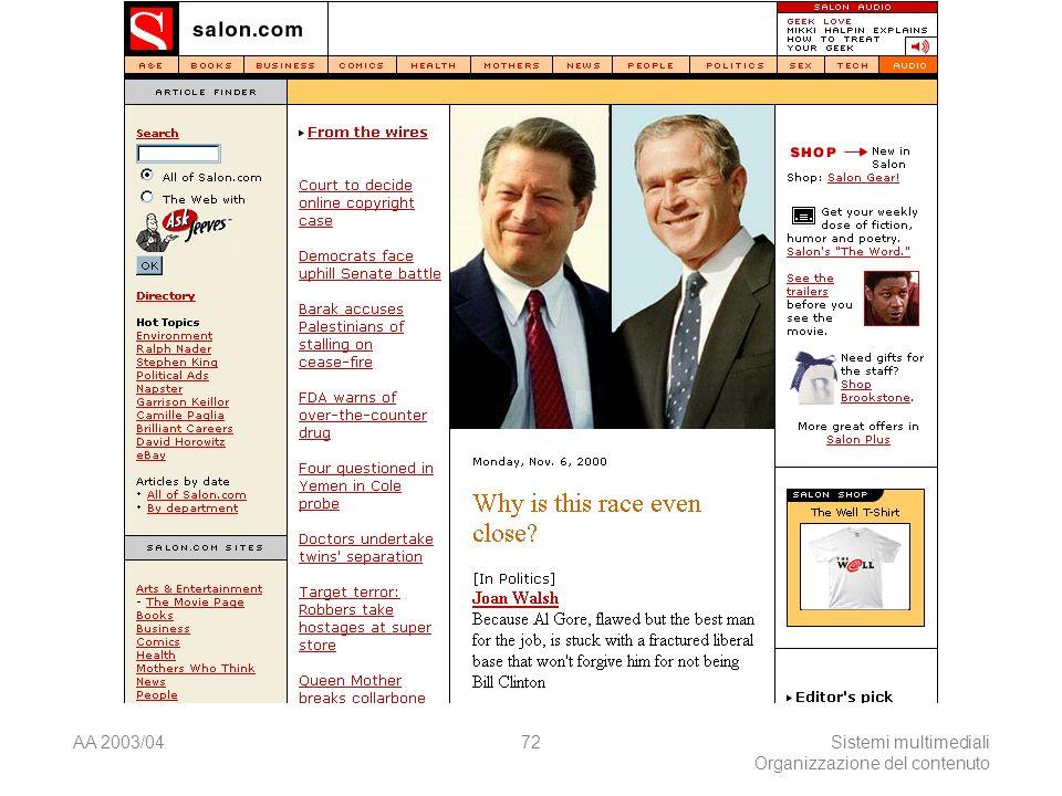 AA 2003/04Sistemi multimediali Organizzazione del contenuto 72