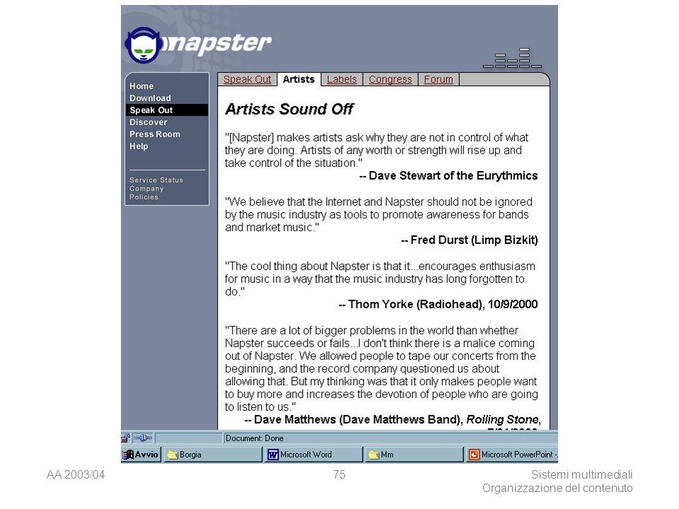 AA 2003/04Sistemi multimediali Organizzazione del contenuto 75