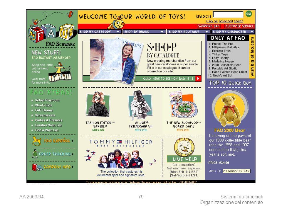 AA 2003/04Sistemi multimediali Organizzazione del contenuto 79