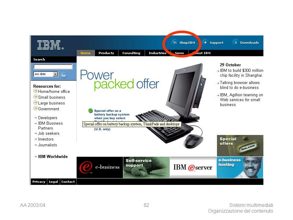 AA 2003/04Sistemi multimediali Organizzazione del contenuto 82