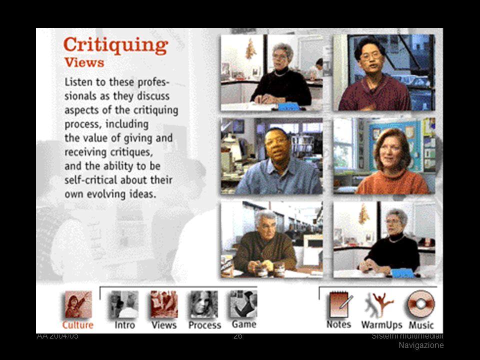 AA 2004/05Sistemi multimediali Navigazione 25