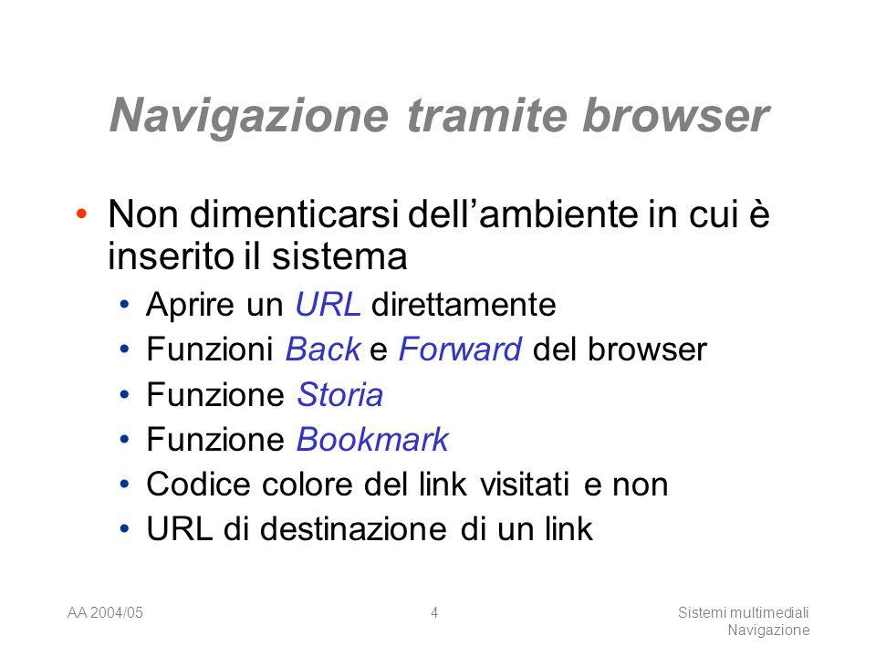 AA 2004/05Sistemi multimediali Navigazione 4 Navigazione tramite browser Non dimenticarsi dellambiente in cui è inserito il sistema Aprire un URL direttamente Funzioni Back e Forward del browser Funzione Storia Funzione Bookmark Codice colore del link visitati e non URL di destinazione di un link