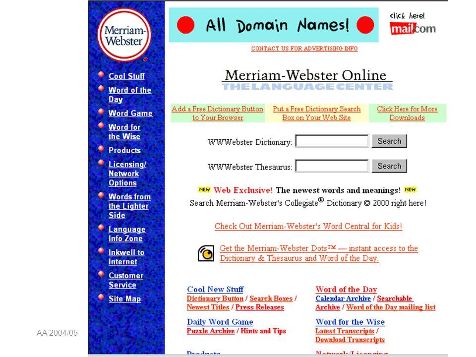 AA 2004/05Sistemi multimediali Navigazione 74