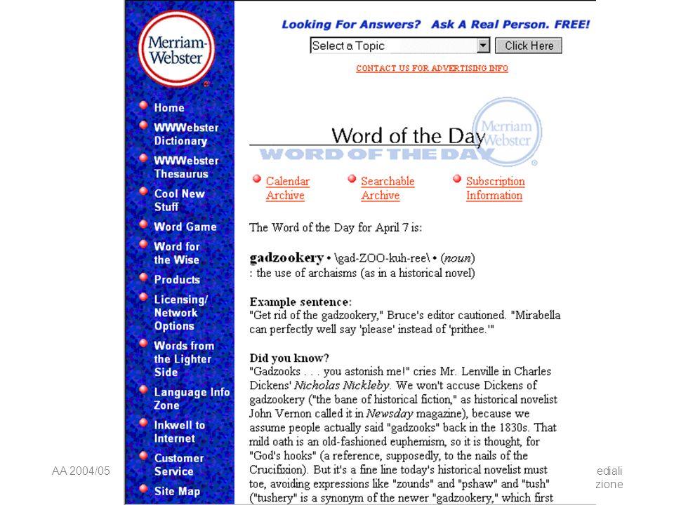 AA 2004/05Sistemi multimediali Navigazione 75