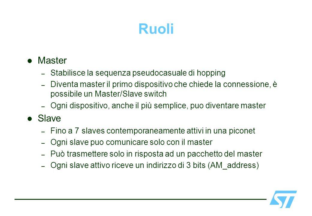 Ruoli Master – Stabilisce la sequenza pseudocasuale di hopping – Diventa master il primo dispositivo che chiede la connessione, è possibile un Master/