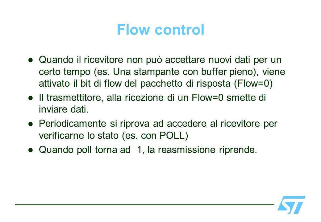 Flow control Quando il ricevitore non può accettare nuovi dati per un certo tempo (es. Una stampante con buffer pieno), viene attivato il bit di flow