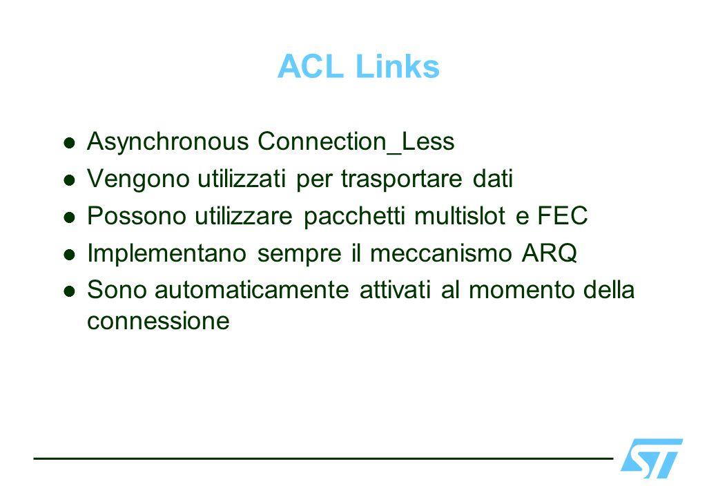 ACL Links Asynchronous Connection_Less Vengono utilizzati per trasportare dati Possono utilizzare pacchetti multislot e FEC Implementano sempre il mec